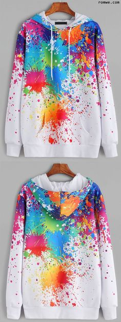 White Paint Splatter Print Drawstring Hooded Pocket Sweatshirt Paint Splatter Shirt, Splatter Art, Girls Long Sleeve Shirts, Paint On Clothes, Diy Clothes, Weird Outfits, Cute Outfits, Weird Clothes, Teen Fashion