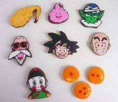Dragon Ball Z cookies. Iced Sugar Cookies, Royal Icing Cookies, Cupcake Cookies, Tarta Dragon Ball, Cookie Decorating Icing, Anime Cake, Pancake Art, Kids Clay, Biscuits