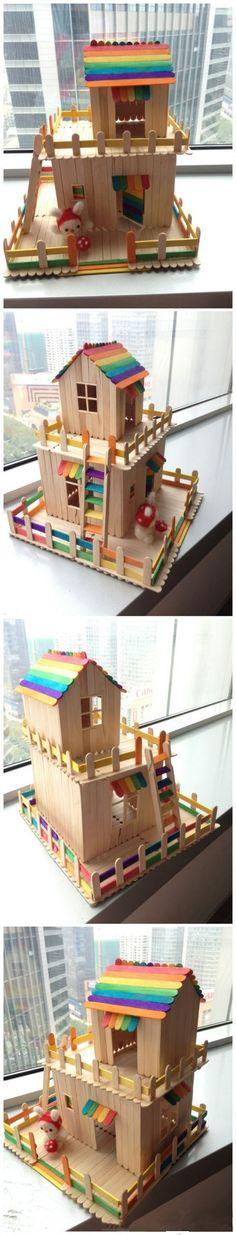 Popsicle house  以后吃完冰淇淋,棒子就别扔了哦!做一个梦幻的房子``