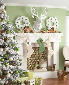 Gorgeous Green Holiday Christmas Mantel Decoration