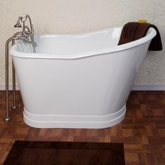 "The small footprint of this 52"" cast iron soaking tub saves you both space and water. 