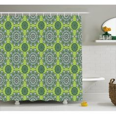 Home - Country Decor Idea Green Shower Curtains, Pattern Fabric, Retro Pattern, Moroccan Decor, Bathroom Sets, Arabesque, Fern, Hooks, Oriental