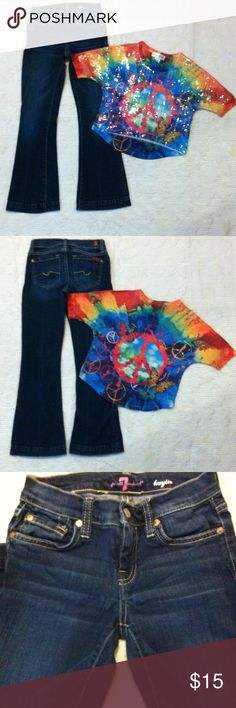 """Bundle of 2 Girls Sz 7/8 blue jean pants & top 98% Cotton 2% spandex-7 For all Mankind """"Kaylie"""" Sz 8 Blue Jean Pants-5-pockets-zip up fly-snap button closure-Slight wear around Crouch area (see pic) Not noticeable Nice Jeans-#2- Rocker Girl Sz M 7/8 Multi color Tie Dye Print short sleeve top-Peace & Butterflies signs with clear sequins on front. Wash fuzz on back not noticeable- Excellent Condition 7 For All Mankind Other"""