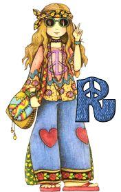 Oh my Alfabetos!: Alfabeto de chica hippy amor y paz.
