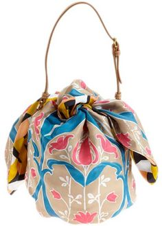 tie your scarf into a bag!    Prada foulard scarf
