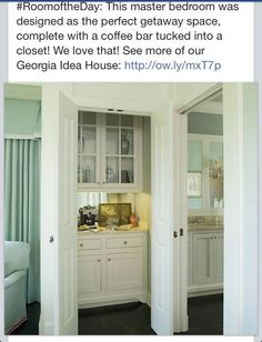 Master bedroom coffee bar closet!!! I think I would stash some Mt. Dew here lol