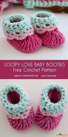 97a10426eef3 Loopy Love Baby Booties Free Crochet Pattern Crochet Baby Shoes