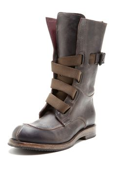 i.am Leather High Top Work Boot with Canvas Straps