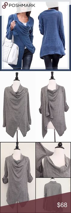 """Wrap asymmetrical sweater coat ➖SIZE: Small    ➖BUST: 17.25""""    ➖SLEEVE: 23.5""""    ➖LENGTH: 33.5"""" ➖STYLE: A gray wrap asymmetrical sweater jacket that is going to be perfect for this fall🍂🍁 ❗️The sweater for sale is the gray one. The blue one can be requested. Sweaters Shrugs & Ponchos"""