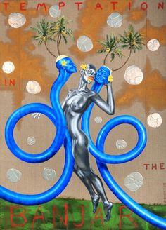 Ashley Bickerton (American, born Bahamas, Temptation in Banjar, Mixed media on canvas, 180 x 130 cm. Artist Biography, Artist Profile, Media Images, Mixed Media Canvas, Contemporary Artists, Cool Stuff, Gallery, Barbados, Painting