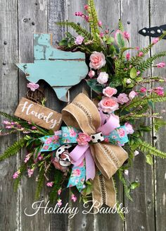 Texas Floral Grapevine by Holiday Baubles Summer Door Wreaths, Easter Wreaths, Wreaths For Front Door, Spring Wreaths, Graduation Party Decor, Summer Diy, How To Make Wreaths, Grapevine Wreath, Grape Vines