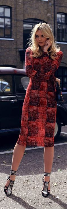 Street style tweed plaid dress.