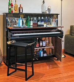 recycled piano made into bar