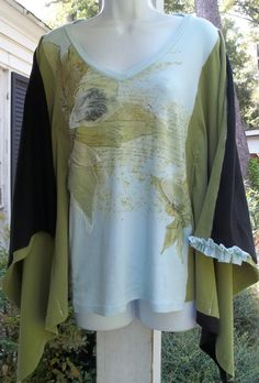 Upcycled Tshirt Kimono Top Shirt Blouse Black Green Blue Floral Refashioned Altered Clothing Sz M/L.