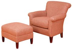 King Hickory Accent Chairs and Ottomans Francis Rolled Back Chair and Ottoman Set by King Hickory.  Two of these chairs in a navy and yellow stripe fabric.  No ottomans.