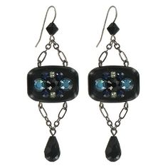 Tarina Tarantino Amleth Earrings (376738101) ($38) ❤ liked on Polyvore featuring jewelry, earrings, black, pave earrings, long chain earrings, chain dangle earrings, pave jewelry and long earrings