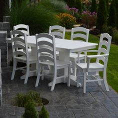 Outdoor A & L Furniture Ladderback Poly 7 Piece 7 ft. Rectangle Patio Dining Set - ALF319-23