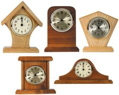 Easy Woodworking Projects five mini clocks plans (not free) - Cherry Tree Toys can provide you with all the woodworking supplies to complete project from woodworking plans, wood parts, lumber, clock parts and scroll saw plans. Small Woodworking Projects, Woodworking Furniture Plans, Learn Woodworking, Popular Woodworking, Woodworking Crafts, Wood Projects, Woodworking Supplies, Teds Woodworking, Woodworking Workshop