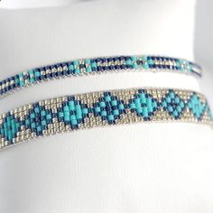 Cuffs adjustable, woven with miyuki beads. Miyuki d Bracelets handmade in Paris. Cuffs adjustable, woven with miyuki beads. Miyuki d.Bracelets handmade in Paris. Cuffs adjustable, woven with miyuki beads. Miyuki d. Loom Bracelet Patterns, Bead Loom Bracelets, Bead Loom Patterns, Silver Bracelets, Embroidery Bracelets, Jewelry Bracelets, Bead Jewellery, Beaded Jewelry, Armband Rosegold