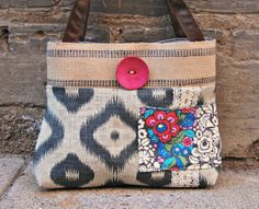 Burlap and Lace Purse by cayennepeppybags on Etsy, $65.00