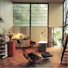 The most famous lounge chair ever designed in the Case Study House #8. Click on the  image to read the interesting story of the Eames lounge chair.