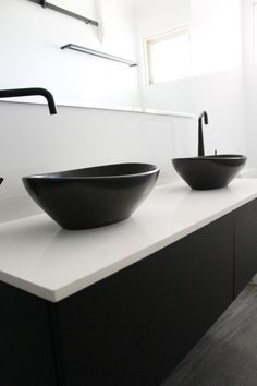 Small Ensuite, Black Sinks - Wall Hung Vanity - White Benchtop - Back To Wall Toilet - On the Ball Bathrooms - Perth Bathroom Renovations - Walk In Shower - Black Bathroom Sink, Black Sink, White Sink, Small Bathroom, Black Bathrooms, Bathroom Inspo, Bathroom Vanities, Masculine Bathroom, Back To Wall Toilets