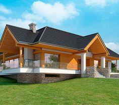 Projekt domu LK&1116 Roof Truss Design, Cottage Style House Plans, Roof Trusses, Modern House Design, Home Fashion, Gazebo, Shed, Exterior, Outdoor Structures