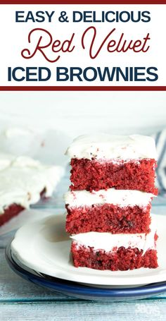 This Red Velvet Iced Brownie recipe just might be the best tasting, ever. It's so good and delicious, you're certain to love every single bite! All the sweet chocolate in every bite is flavorful and so good! #redvelvet #brownies #dessertrecipe #3boysandadog