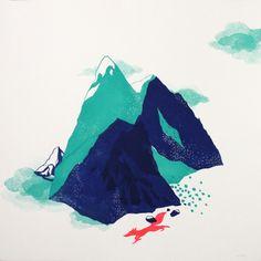 Evelyne Mary - Grande Montagne - Linogravure à passages multiples. 50*50 cm.