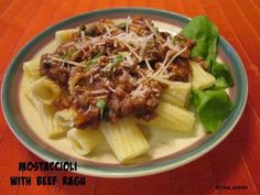 Pasta is a simple dinner that everyone around here loves,but we get a little tired of jarred sauce. This Mastaccioli with Beef Rague is easy to make, tastes great and freezes well! #pasta