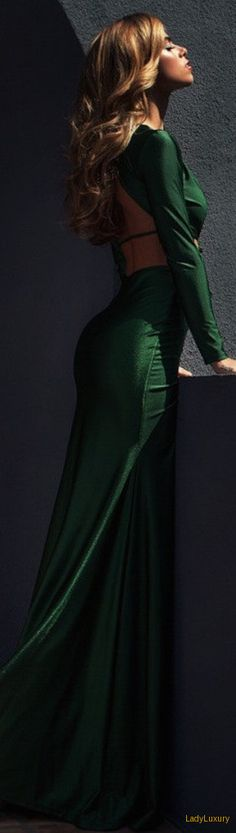 Lurelly Emerald Gown | LadyLuxuryDesigns