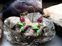 Hummingbird Earrings - Hummingbird Jewelry - Hot Pink, Lime Green Earrings - Bright Colors, by RenesJewelryArt. Click here to visit my Etsy shop:  https://www.etsy.com/shop/RenesJewelryArt?ref=hdr_shop_menu