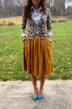 Mustard Skirt and turquoise Heels