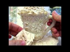 Altered Teapot ,teacup and muslin rose tutorial - YouTube
