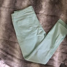 ⭐️SALE⭐️Mossimo mint green skinny jeans 👖 These are a nice pair of skinny jeans for a cute spring outfit . They are mint green and from mossimo. They are a size 6. I wore them one time there is a small spot on the pants leg as u can see in the  last picture I'll see if I can get it out when I rewash them . They are really cute on but I no longer can fit them . 😍 Mossimo Supply Co Jeans Skinny
