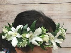 White Orchid And Rose Tropical Halo Haku Flower Crown