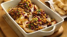 Apples and stuffing mix provides a wonderful addition to these pork chops - perfect for dinner.