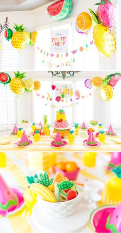 AMAZING colorful Tutti Fruti party with cute DIY watermelon party hats