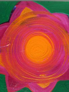 Bright Original Art Chakra Flower Painting Kelly by GlitterBombArt, $25.00