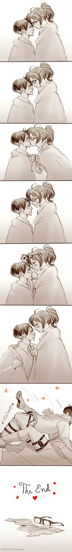 Honestly my otp of Attack on Titan. Like, Idgaf about Ereri or whatever (it's my notp), but HanjixLevi is probably the cutest thing. Attack On Titan Funny, Attack On Titan Ships, Attack On Titan Fanart, Otp, Hanji And Levi, Eremika, Levihan, I Ship It, Titans Anime