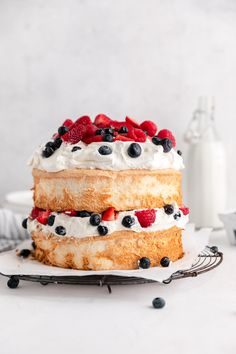 4th of July Angel Food Cake - Broma Bakery 4th Of July Desserts, No Bake Desserts, Party Desserts, Food Cakes, Cupcake Cakes, Cupcakes, Broma Bakery, Sweetened Whipped Cream, Angel Food Cake