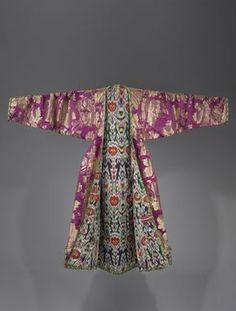 Woman's coat, Bukhara, Uzbekistan, late 19th century Brocaded silk; lining: silk and cotton, ikat-dyed, An The dizzying colors of ikat displayed here highlight the clothing's inner lining and give importance to often unseen parts of the garment. Due to its strong smell, the use of ikat was initially considered repugnant, and was exclusively a Jewish practice; however as the process was perfected it came to be a highly esteemed specialty.