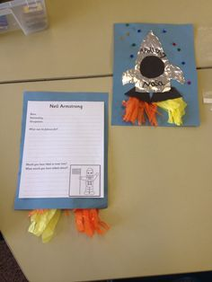 This activity allows students to demonstrate their research capabilities by filling in the information. It also allows students to express their creativity by creating their own space shuttle! Moon Activities, Space Activities, Space Projects, School Projects, Preschool Crafts, Crafts For Kids, Early Years Maths, Neil Armstrong, Man On The Moon