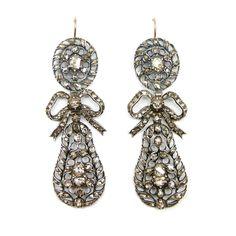 - Pair of 18th century rose diamond openwork pendant earrings, c.1750