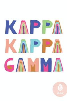 Geneologie | Kappa Kappa Gamma | KKG | Rainbow Letters Big Little Canvas, Kappa Kappa Gamma, Sorority Shirts, Festival Wear, Color Blocking, Good Books, Night Out, Cool Style, Logos