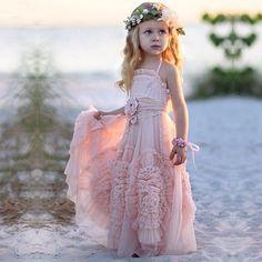 Cute Spaghetti Straps Flower girl Dresses with Flowers - Dressywomen.com.