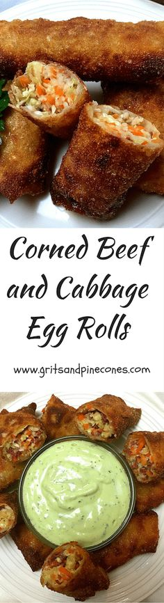 Just in time for St. Patrick's Day, Corned Beef and Cabbage Egg Rolls with Avocado Lime Dressing will bring you the luck of the Irish! via @http://www.pinterest.com/gritspinecones/