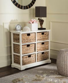Keenan 6 Wicker Basket Storage Chest in Distressed White - Safavieh charming six-basket storage chest complements both urban and rural settings with a rugged distressed white finish on pine wood. Ideal in a bedroom or family room, its contras Nursery Storage, Diy Storage, Storage Shelves, Storage Chest, Dresser Storage, Fabric Storage, Storage Cabinets, Storage Ideas, Basket Drawers