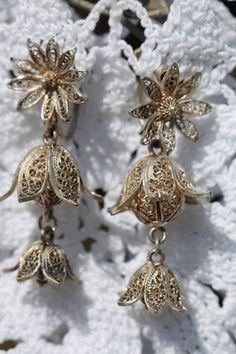 VINTAGE STERLING SILVER CANNETILLE FILIGREE FUCHSIA FLOWER SCREW BACK EARRINGS