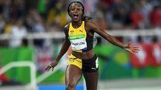 Elanie Thompson, Jamaica vann damernas 200m 21.78, silver Dafne Schippers, Nederländerna 21.88, brons Tori Bowie, USA 22.15.